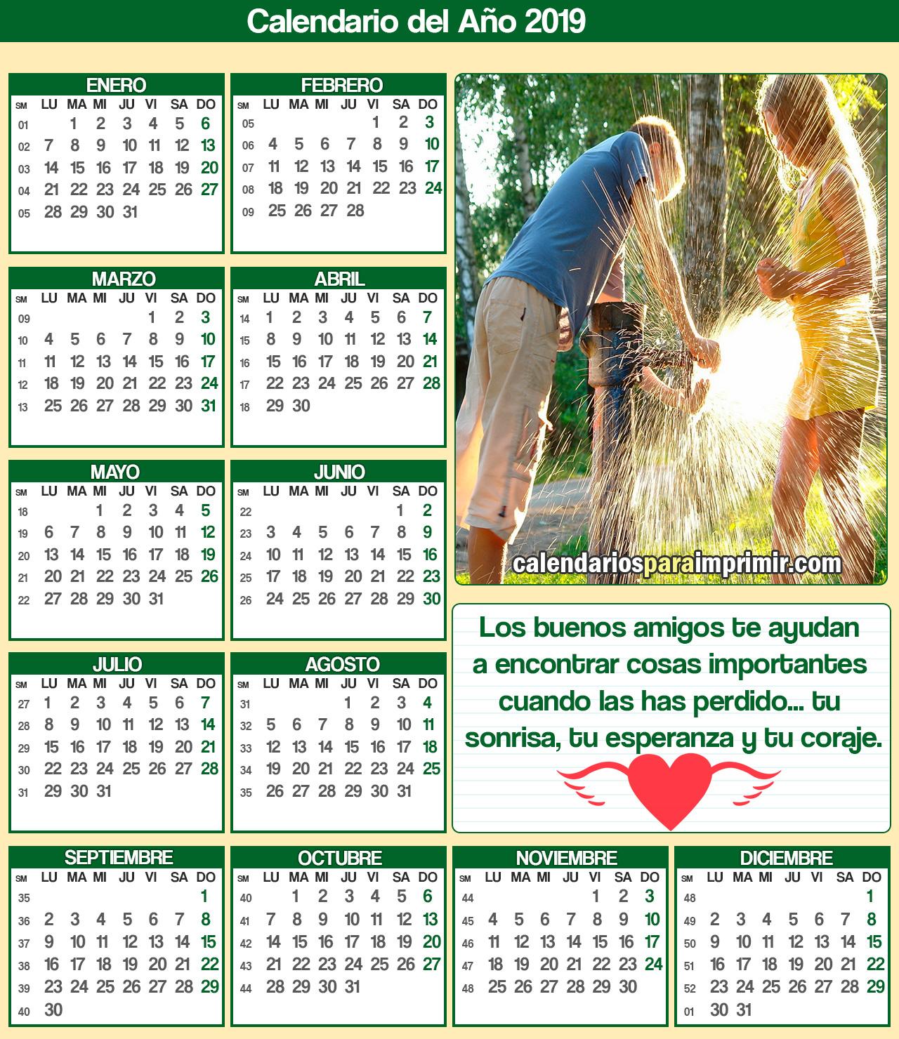 calendarios amistad 2019 para imprimir