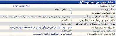 تعلن بلدية كوينين. الوادي  عن فتح مسابقة توظيف للالتحاق بمناصب الشغل التالية :