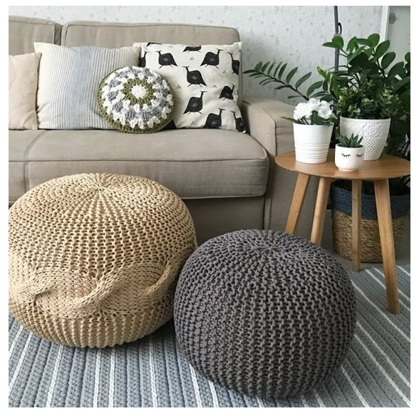 Knitted Pouf and Ottoman floor chusion from bean bag sofa coffe table ideas