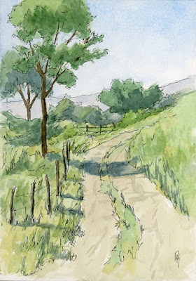 pen watercolor sketch rural landscape farm