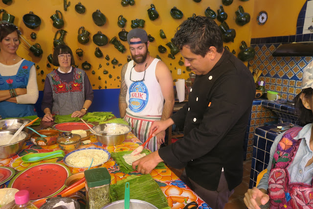 Chef Gerardo Aldeco takes us through the construction of tamales at La Cocina Oaxaquena, Oaxaca