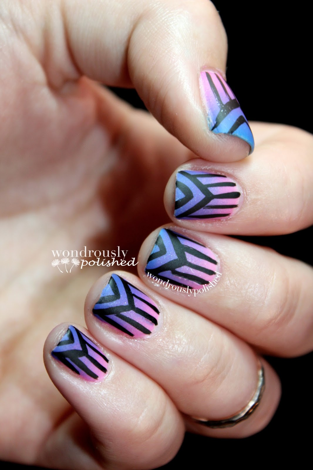 Wondrously Polished February Nail Art Challenge: Wondrously Polished: Gradient And Some Free Hand Stripes
