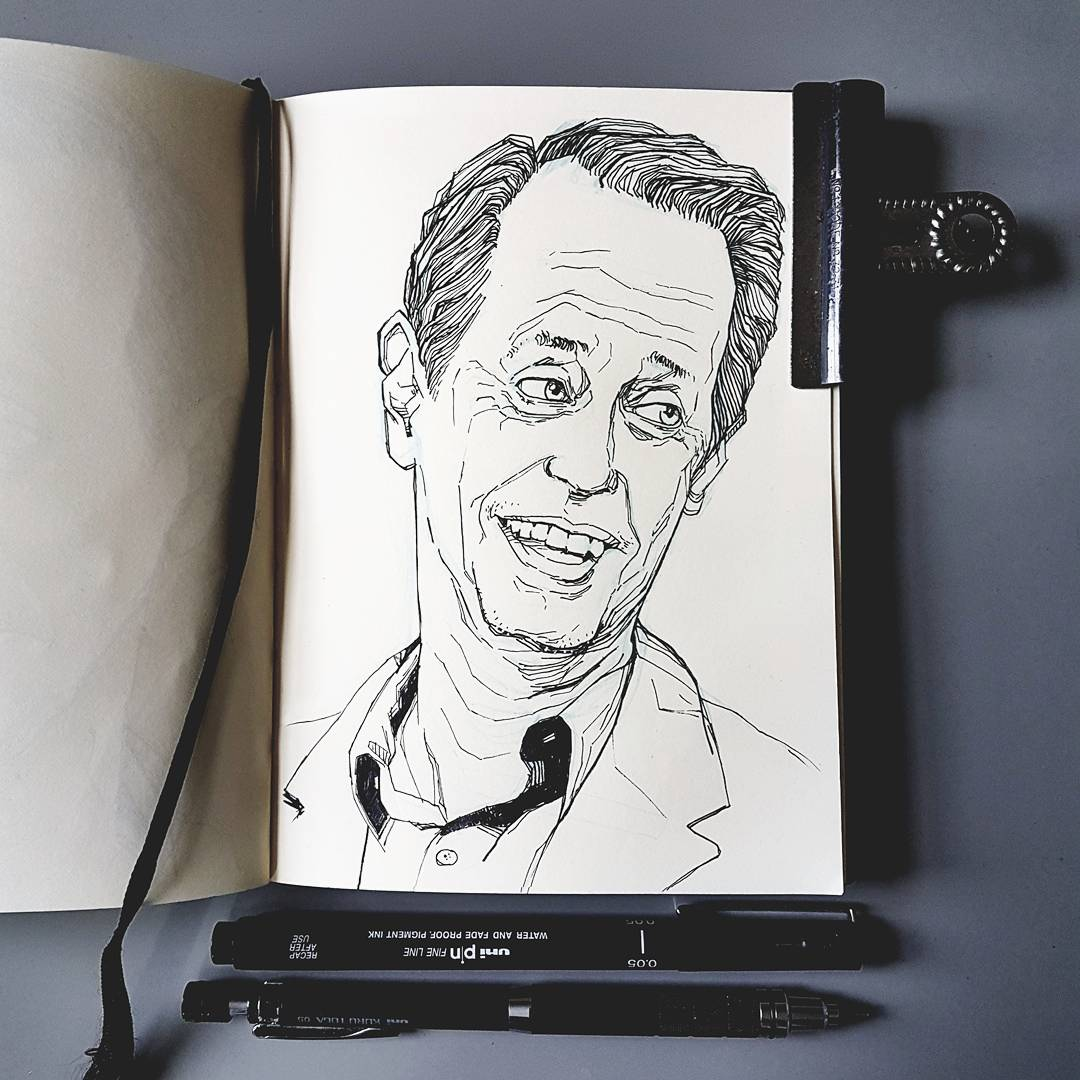 Illustration Steve Buscemi portrait sketchbook