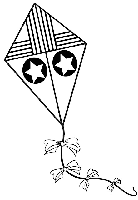 A colouring page with a children's kite that has stars, stripes, and bows.
