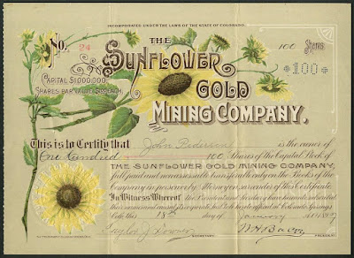 share in the Sunflower Gold Mining Company with color vignettes of sunflowers