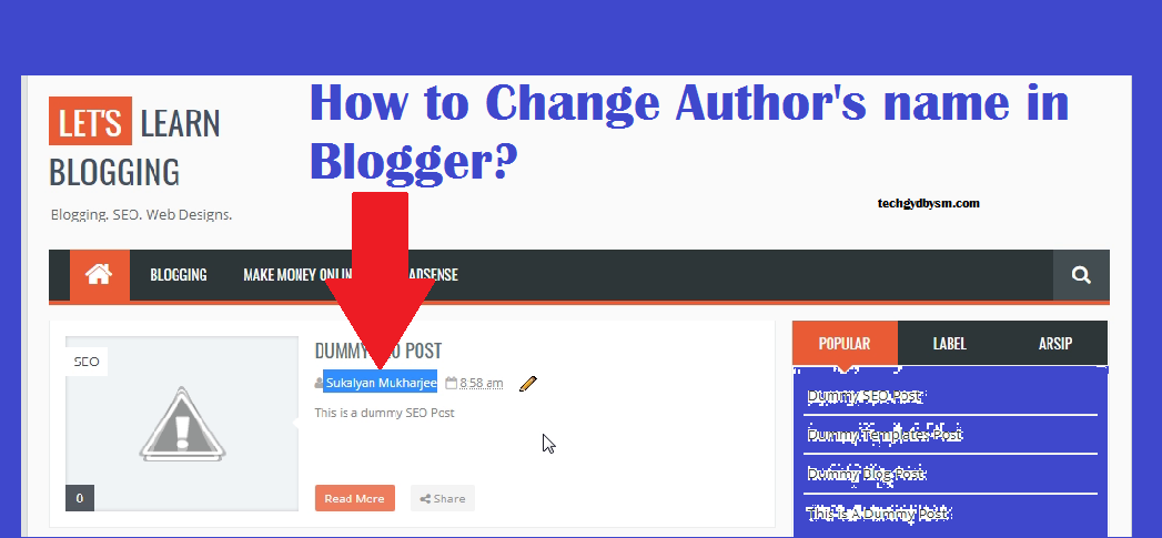 How to Change Author name in Blogger?