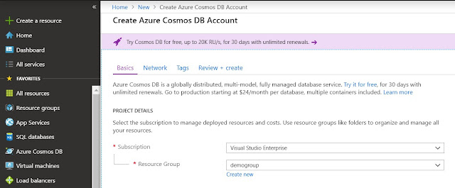 Create Azure Cosmos DB Account
