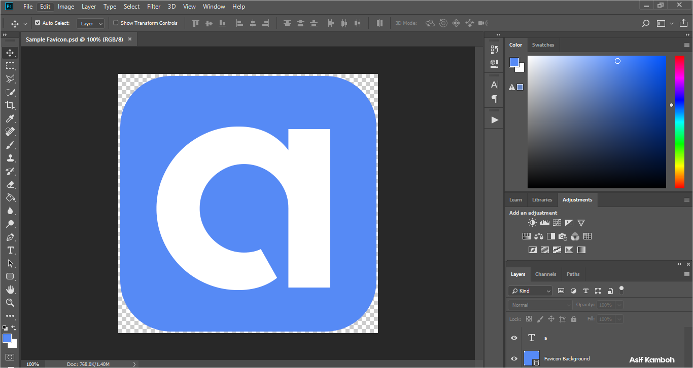 Edit your favicon in Adobe Photoshop, and save it as a png image.