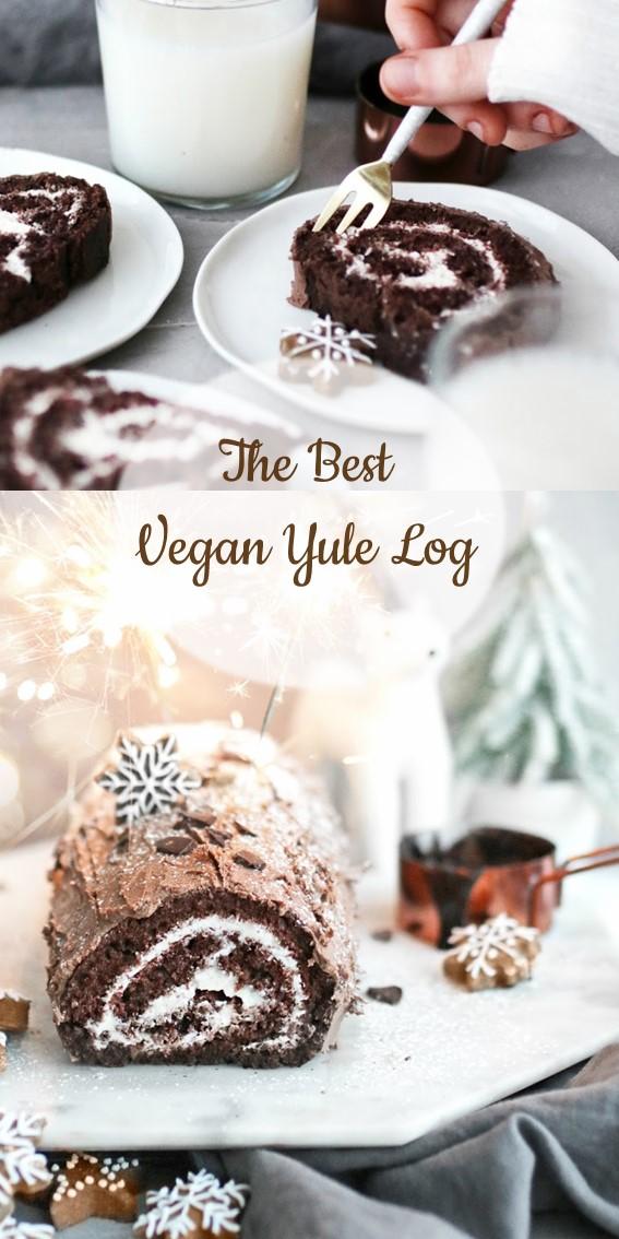 The best vegan yule log recipe #Vegan #YuleLog #Cake