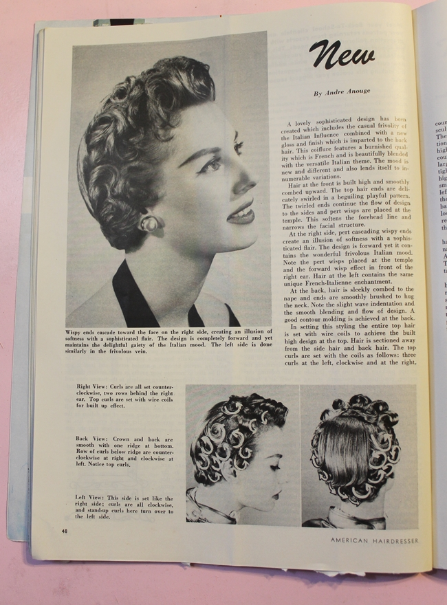1950s vintage pin curl hair waves setting patterns from American Hair Dresser Magazine