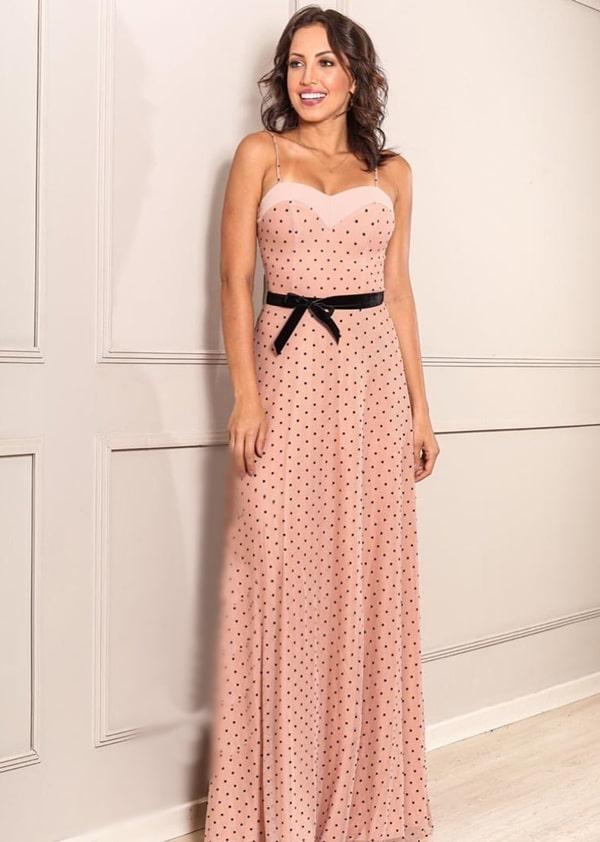 vestido longo rose com bolinhas pretas poa