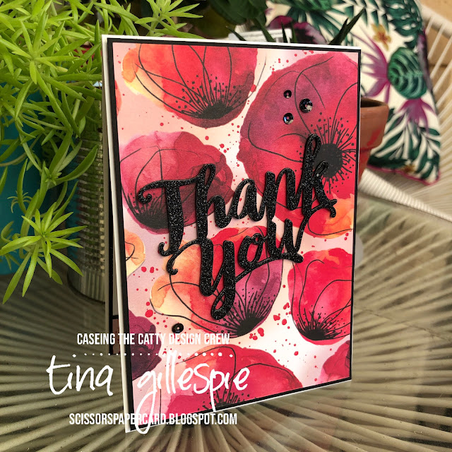scissorspapercard, Stampin' Up!, CASEing The Catty, Thank You Die, Peaceful Poppies DSP, Glimmer Paper