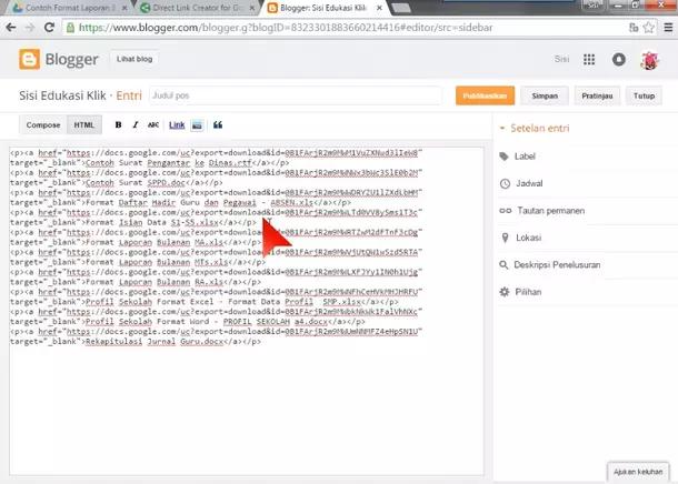 Google Drive - Direct Download Link on Blogger Post HTML Editor