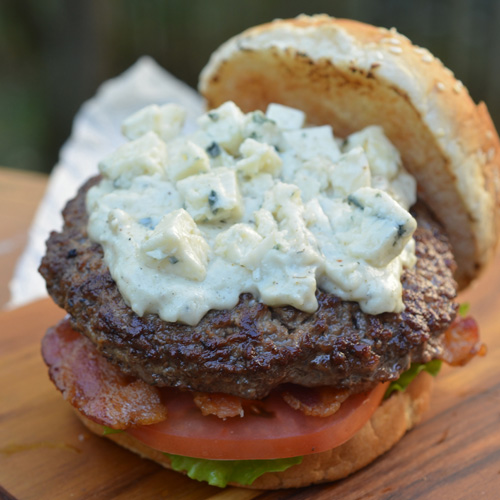 An amazing burger, the Gorgonzola and Bacon burger is loaded with contrasting flavors.