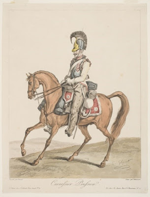 Colored print on cream paper of a soldier on a horse; the soldier wears a solid breastplate and a helmet with a large crest, but no other armor.