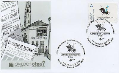 sobre, sello, matasellos, filatelia, menú, desarme, Oviedo