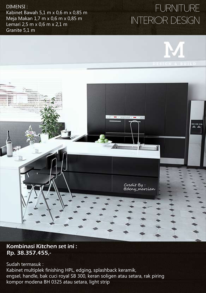 Terima jasa pembuatan kitchen set minimalis modern for Harga pembuatan kitchen set per meter