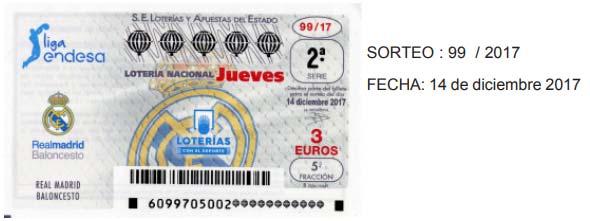Décimos de lotería nacional dedicados al Real Madrid
