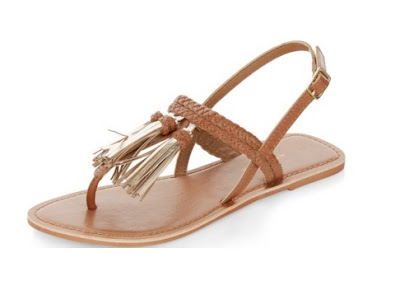 New Look Tan Flat Sandals with tassels