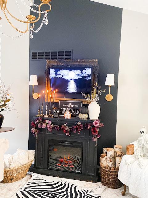 black white gold purple fall decor
