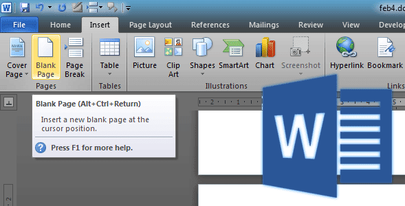 Cara Cepat Insert Blank Page Pada Microsoft Word