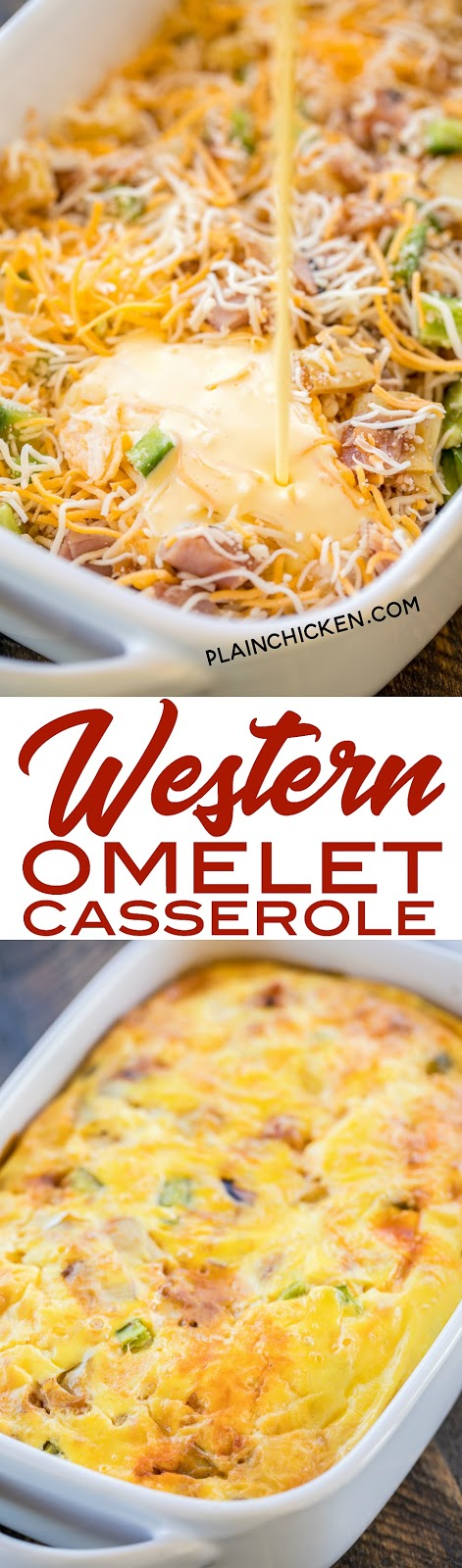 Western Omelet Casserole - perfect for breakfast, lunch or dinner. Ham, onion, bell pepper, artichokes, salsa, eggs, sour cream and cheese. No crust, so it is a great low-carb option. Only 4.5 Weight Watcher points per serving!! #casserole #omelet #breakfast