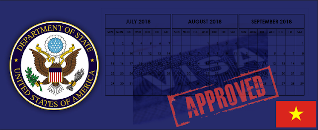 U.S. Department of State Vietnam Visa Approvals for July, August, and September 2018