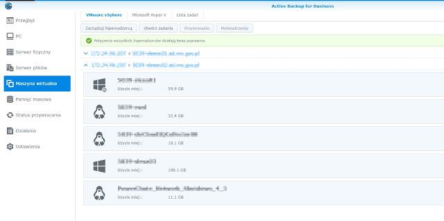 Active Backup for Business zakładka Maszyna wirtualna