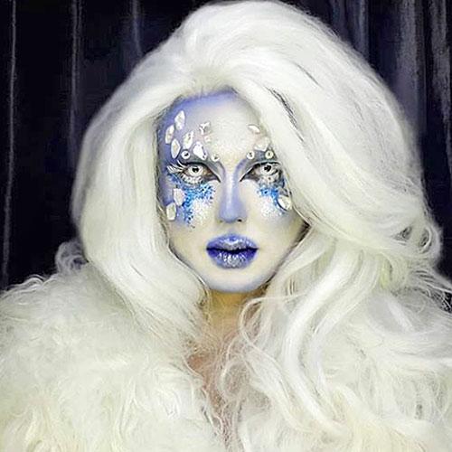 Maquillaje Drag Queen reina de hielo en blanco y azul con peluca