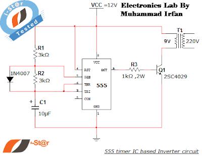 555 timer IC Inverter 12V to 220V ~ ELECTRONICS LAB