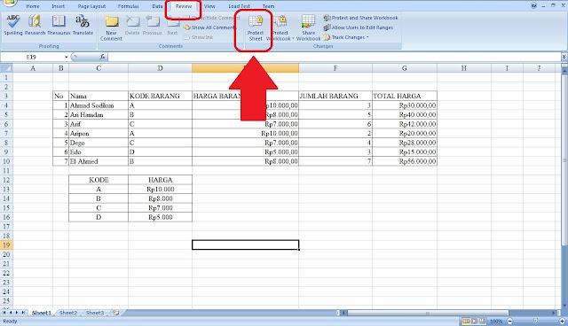 Membekukan panel untuk mengunci baris dan kolom - Excel