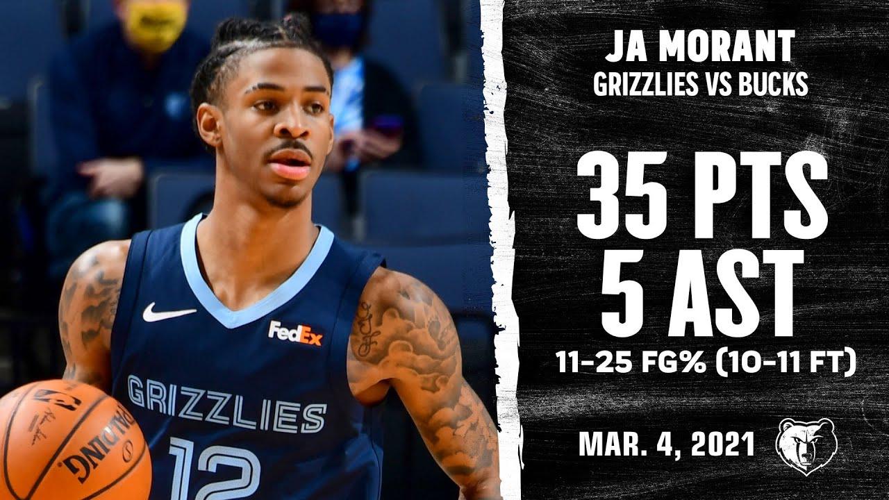 Ja Morant 35pts 6reb 5ast vs MIL   March 4, 2021   2020-21 NBA Season