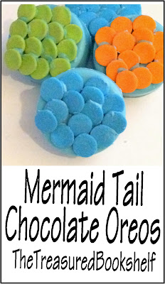 Enjoy reading some fun Mermaid tale's with these chocolate covered oreo cookies.  These chocolate cookies are decorated to look like the scales of a Mermaid tail to keep you in the mood while reading your favorite Mermaid books.