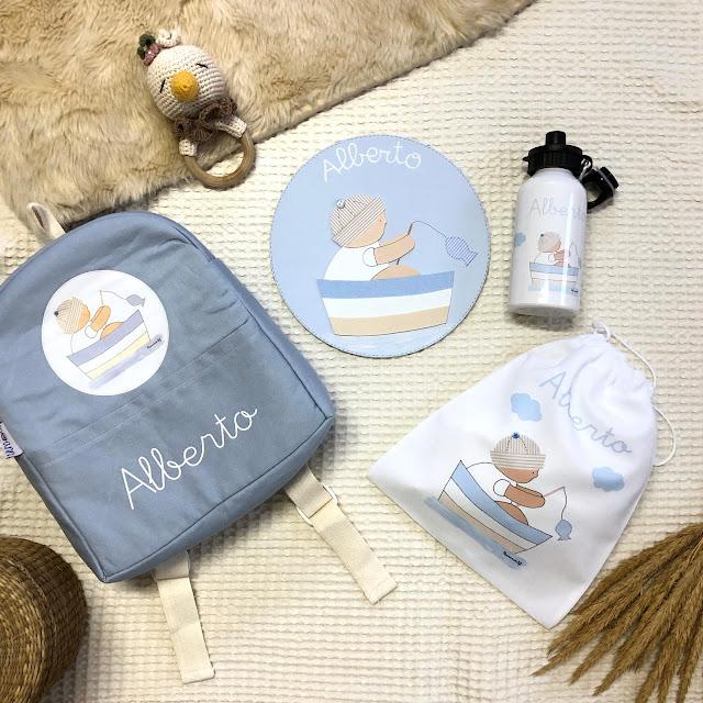 mochila infantil personalizada botella y fiambrera