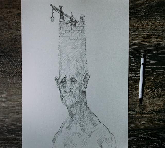 grafite sobre papel, torre, homem, coração,susano correia, notasvisuais, desenho embruxados