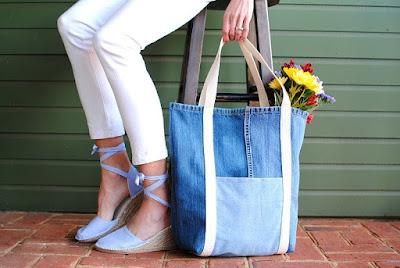 Ide denim bekas menjadi tote bag atau tas jinjing
