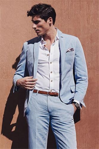 Fashion Casual Sky Blue Summer Men Suits | 2 Pieces Linen Beach Wedding Suits for Men
