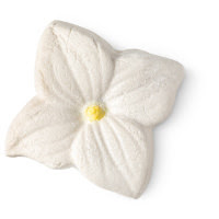 A four piece white petal shaped bubble bar coated in light silver lustre on a bright background