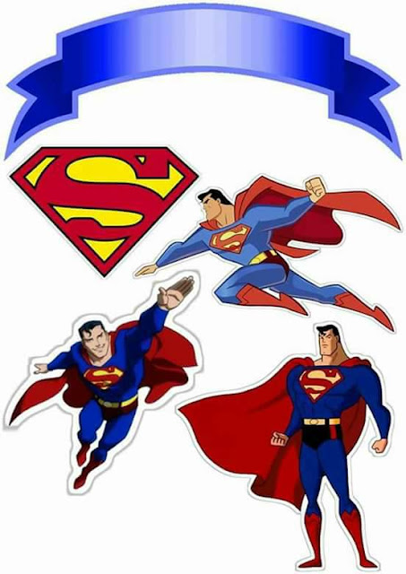 Superman Versión Cómic: Toppers para Tartas, Tortas, Pasteles, Bizcochos o Cakes para Imprimir Gratis.