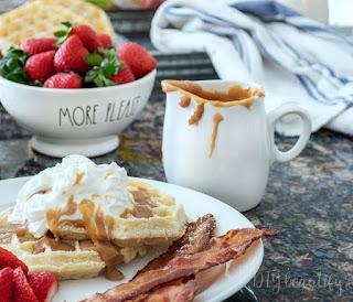 Belgian waffles with dulce de leche syrup