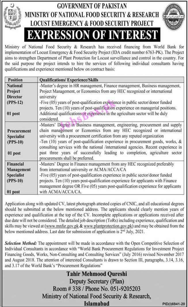 www.mnfsr.gov.pk Jobs 2021 - Ministry of National Food Security & Research Jobs 2021 Latest Vacancies - MNFSR Jobs 2021 in Pakistan