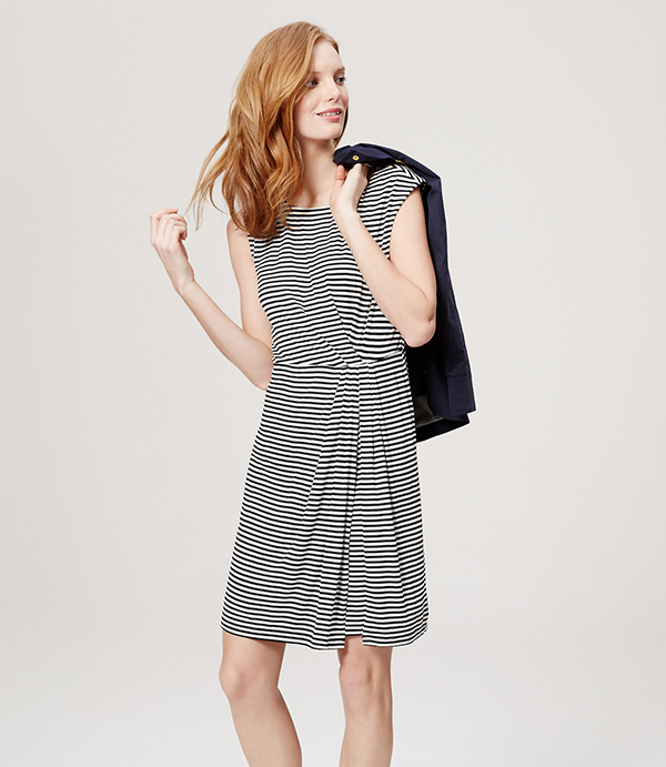 LOFT Stripe Gathered Dress in black and white stripes and soft jersey fabric