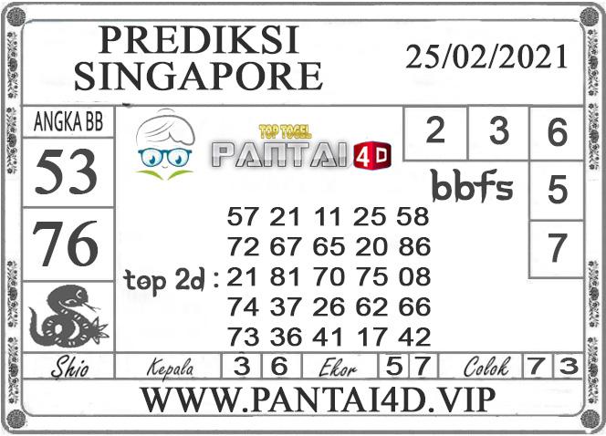 PREDIKSI TOGEL SINGAPORE PANTAI4D 25 FEBRUARI 2021