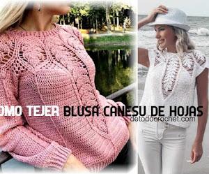 Cómo Tejer Blusa con Canesú de Hojas a Crochet 💕
