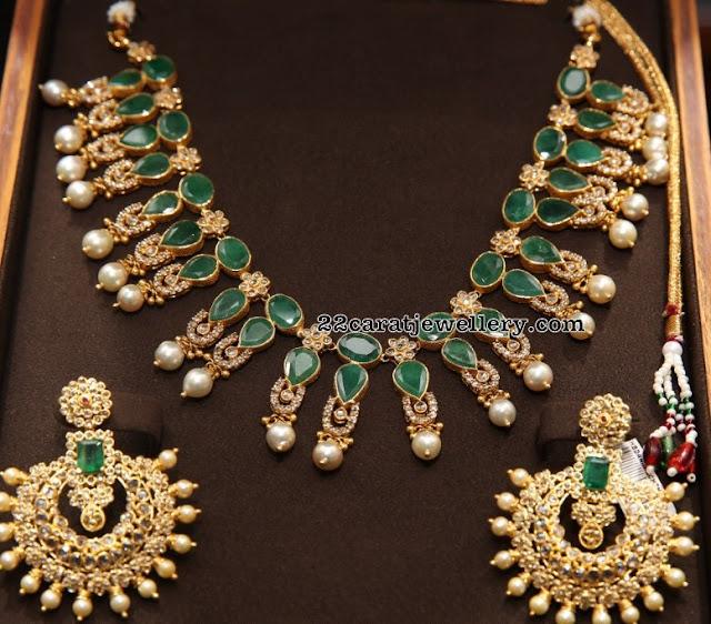 Two Step Emerald Uncut Set by Malabargold
