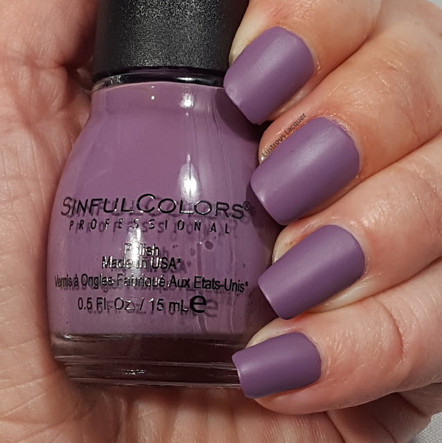 Dusty lavender colored nail polish with a matte finish