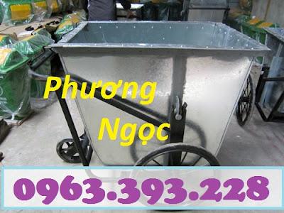 Xe gom rác 500 Lít bằng tôn, xe rác tôn 3 bánh, thùng rác tôn 500L, xe thu rác XRT500L3