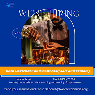 VACANCIES FOR A WAITRESS AND BARTENDER AT VICTORIA ISLAND