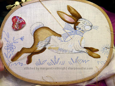 Embroidered Easter Table Runner: Filling in the back leg of the bunny