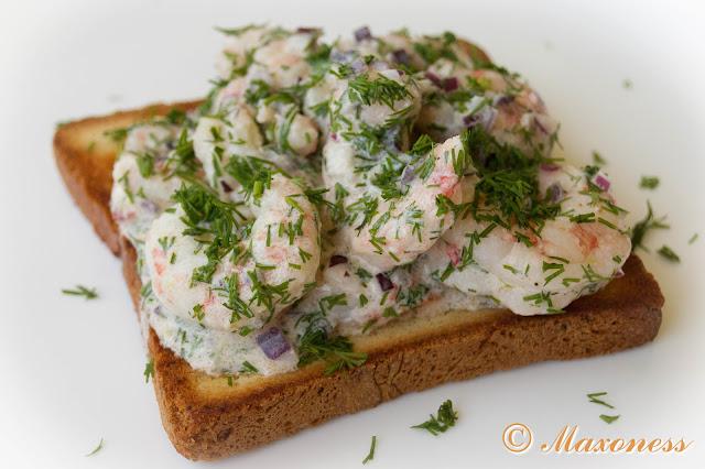 Skagen (креветки на тостах) от Джейми Оливера. Скандинавская кухня